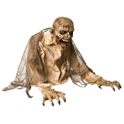 New Walking Dead Halloween Prop GASEOUS ZOMBIE CORPSE GHOUL ANIMATED FOG Machine Cover Accessory Realistic Zombie Prop-Haunt special FX Gothic Animatronic Creature Fogger Accessory hooks to fog machine. Head moves back & forth. Creepy crypt guardian!