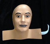 MANNEQUIN HEAD FORM FACE COVER-Costume Mask Prop Display-MALE-Flesh-tone Sculpted Face Body Part-Made of molded plastic, fits over standard styro head form wig stand display. Halloween haunt prop building supplies, safety prop dummy, wig head display