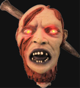 Life Size Animated Bloody SEVERED HUMAN ZOMBIE GHOUL HEAD Flashing Red Light Up Eyes, Screaming Gothic Halloween Horror Prop. Cut-Off Dismembered Dead Body Part with SPIKE. Lighted, spooky sounds, scary screams, motion activated.
