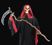 Life-Size Looming Standing Black and Red Hooded GRIM REAPER ZOMBIE SKELETON with SICKLE SCYTHE Gothic Decor Post-Apocalyptic Halloween Prop Haunted House Costume Party Decoration