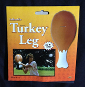 Funny JUMBO INFLATABLE BROWN TURKEY LEG Ornament- Two foot turkey leg makes a BIG statement! Turkey Bat and Ball Game, anyone? Award the biggest TURKEY at any sports banquet or corporate awards night, next Ren-Faire or family Thanksgiving! 24-inch