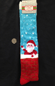 Christmas Novelty-CUTE SANTA CLAUS in CHIMNEY KNEE SOCKS-Holiday Stockings Stuffer. UNISEX (Women's Size 9-11) Holiday Clothing Accessory Gift. Red, Blue Multi-Color stockings fit women's shoe sizes 4-10.