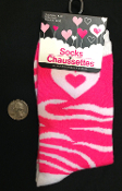 New Cute Novelty Rockabilly Lolita. Funky Sweetheart Punk Hot Pink ZEBRA STRIPED HEART CREW SOCKS Neon Animal Print Diva Cheer Valentines Love Holiday Hosiery Women Teen Girls Size Casual Stockings Safari Jungle-theme Clothing Apparel Accessory Gift.