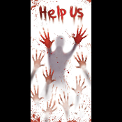 Creepy Dexter Psycho Horror--HELP US--BLOODY BODY HAND PRINTS VICTIM DOOR COVER Wall Mural Window Hanging Walking Dead Zombie Vampire Warning Sign Spooky Halloween Haunted House Serial Killer Murder Prop Building Scene Setter Costume Party Decoration
