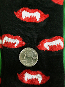 Gothic Novelty Occult Theme BLACK VAMPIRE FANGS CREW SOCKS-Red Silver Glitter Print-Creepy Undead Design-Funky Punk Rockabilly Lolita Diva Novelty Casual Hosiery Cosplay Halloween Costume Clothing Accessory Unisex Style-Teen, Adult, Women 9-11