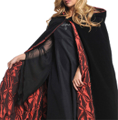 Elegant Medieval DELUXE VELVET EMBROIDERED HOODED CAPE with QUILTED RED SATIN LINING Haunted House Cosplay Halloween Vampire Witch Wiccan Sorceress Stage Theatrical Costume Accessory- 56-inch (140cm) Long