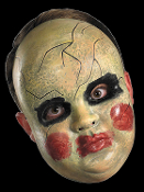 This creepy realistic mask features the face of a spooky doll with smeared makeup and fake cracks. This scary mask also makes a great Halloween prop just hanging on the wall – add a glow stick behind the eyes for extra creepiness! Fits most adults.