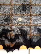 Gothic Black Lace Damask BAT SPIDER CURTAIN Lamp Shade Cover Door Topper Valance Window Swag Cosplay SHAWL Costume WRAP. Sheer Steampunk Goth Mantle Border Shroud Table Edge Decor. Haunted House Halloween Party Mansion Castle Dining Room Decorations.