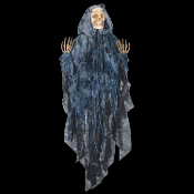 Gothic Apocalypse Spooky Spirit Hanging Life Size Zombie Ghoul Corpse DEAD BLACK HOODED GRIM REAPER Gray Shrouded Ghost Skeleton Scary Skull Cheap Halloween Costume Pirate Party Horror Prop Building Decoration. Fresh Decor from a Creepy Haunted House