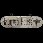 Gothic Horror-HAUNTED HOUSE-Halloween Yard Prop Decoration cemetery, graveyard, door, yard SIGN for Teenager Room, Teen Bedroom, Man Cave, Castle Haunt Decor. Creepy detailed spooky dungeon, tombstone scene or costume party wall display.