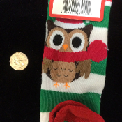 Funky Winter Holiday Novelty-SANTA ELF OWL CANDY STRIPED KNEE HIGH SOCKS-Christmas Stockings Rockabilly Lolita Diva Clothing Accessory. Cute Punk Costume Sports, soccer, volleyball, cheerleading, cheer accessories - Unisex Women