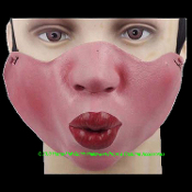 Funny Trick Joke Gag Gift-LOWER HALF FACE MASK-Poker Cosplay Halloween Costume Mardi Gras Masquerade Party-KISSY KISS-Pucker Whistle Smooching Lips Parade Accessory. Monster, Demon, Vampire, Witch, Hag, Voodoo, Kiss-Face. Flesh-tone LATEX Adult Size.