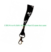 Gothic Punk Pirate Poison Theme SKULL and CROSSBONES LANYARD Cell Phone Neck Strap Keychain ID Holder Halloween Birthday Fun Party Favor Cosplay Costume Accessory-Durable with Attached Swivel Clasp