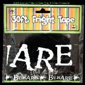 Gothic Ghost Black White--BEWARE--Spooky Fright Caution Police Barricade Tape Border Ribbon Halloween Costume Party Haunted House Prop Building Decoration-Thirty Feet Long