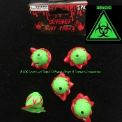 Toxic Biohazard Bloody GREEN SEVERED EYEBALLS EYES Human Body Parts Zombie Apocalypse Creepy Halloween Prop CSI CDC Morgue Mad Scientist Laboratory Cosplay Costume Accessories Horror Prop Building Supplies Gag Haunted House Black Light Decoration SET