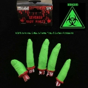 Toxic Biohazard Bloody GREEN SEVERED FINGERS Human Body Parts Zombie Apocalypse Creepy Halloween Prop CSI CDC Morgue Mad Scientist Laboratory Cosplay Costume Accessories Horror Prop Building Supplies Gag Haunted House Black Light Decoration SET