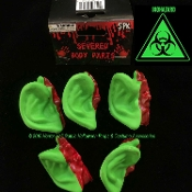 Toxic Biohazard Bloody GREEN SEVERED EARS Human Body Parts Zombie Apocalypse Creepy Halloween Prop CSI CDC Morgue Mad Scientist Laboratory Cosplay Costume Accessories Horror Prop Building Supplies Gag Haunted House Black Light Decoration SET