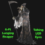 ANIMATED LUNGING REAPER TALKING ZOMBIE Halloween haunted house prop decoration. Do you not fear The Reaper? This terrifying life size 6-foot tall classic horror character death head skull with creepy yellow LED light-up eyes.