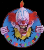 Welcome to every child and many adults nightmare! Three dimensional Creepy Carnival Killer Clown Wall Plaque prop decoration will have people jumping back in fright. Scary sculpted clown is ready to bust out of any wall or spooky haunted house.