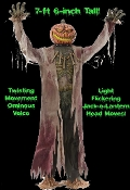 Creepy Animated SPOOKY TALKING GIANT CORN STALKER. This terrifying LIFE SIZE Deluxe Animated Scarecrow Jack-O-Lantern wire frame figure stands at an imposing 7-feet-6-inch tall and features a flickering-light-up Jack O' Lantern turning head and body.