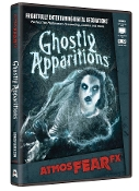 Amazing Realistic Animated Digital Special Effects AtmosFEARfx GHOSTLY APPARITIONS FX DVD Decoration. Frightfully Entertaining! Watch ethereal figures come through walls or drift by! Multiple displays for projection on wall, window, on TV or monitor.