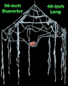 Spooky Spider Web Canopy with flashing blood red LED light-up eyes has poseable legs! Got arachnophobia? 4-foot Long x 3-feet wide creepy spiderweb makes a scary chandelier. Dangle this diabolical web and set the stage for a frightful evening!