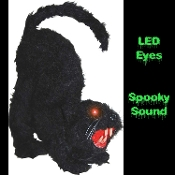 A great little Spooky Black Cat Sound activated prop decoration for your Halloween haunted house or home haunt. LED eyes light up and emits spooky sounds. Fake fur covered Cat has lights and sound. Features fur covered polystyrene foam and plastic.