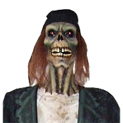 Deluxe Life Size ZOMBIE DRIFTER PROP with LED EYES Horror Halloween Prop Decoration - Rotting soul dressed in rags, looks like he just came out of the cold damp ground. Approx 6 feet tall with red glowing LED eyes for a haunting ghoulish look!