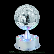 Make it a party wherever you go, with this portable Mirror Ball! Multi function party ball has red, green, blue, and white LED lights on the base for jam-packed disco action! Also includes two functions so your party never gets boring!