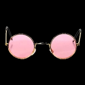 Cool Novelty Groovy DISCO ROUND HIPPIE SUN GLASSES Steampunk Retro Lennon Austin Powers Diva Lolita Halloween Party Novelty Cosplay Costume Accessory-ROSE PINK Lenses, Gold Metal Frames. 60's-70's, flower child, hippy character Beatles John inspired.