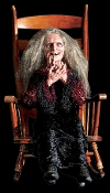 LAUGHING HAG ANIMATED PROP Gothic Horror Halloween Decoration-Old Woman Lady Demon Crone rocks, laughing maniacally. Soundtrack CD included.You provide a chair and player. Arms can be positioned. All electric! Clothing may vary.