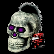 Creepy Gothic Life Size Human SKULL FEATHER MOHAWK LED EYES-Spooky Color Changing Halloween Haunted House Prop Decoration-Scary glow blinking morphing flashing strobe eerie multicolor change lights special effects-Cool Rocker inspired ghoulish decor
