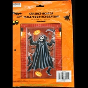 GOTHIC SKELETON--CRASHED GRIM REAPER with Sickle Sythe--ENTRY DOOR WALL WINDOW MURAL or TABLE CLOTH COVER Haunted House Decoration Halloween Party Horror Castle Dungeon Decor Prop Accessory. Plastic Black, White and Gray Color on Clear Background.