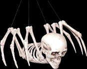 Creepy MUTANT HYBRID HUMAN SPIDER SKELETON Prop Building Mad Scientist Laboratory Monster. Scary Human Skull Head Creature with Spider Body. Moving head and legs, hanging strings. Spooky frightening gothic haunted house Halloween party decoration.