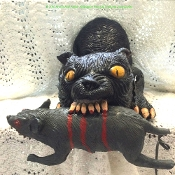 Rare Retired Giant Black Vampire Cat with Rat monster size mutant hybrid undead creature Halloween haunted house horror prop decoration-Jumbo size deluxe foam filled latex crouching hunchback attacking feline with fangs and rodent victim-30-inch Long