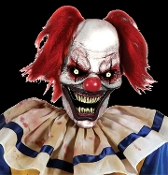 Scary twisted clown prowling the carnival for his next victim! Evil dead circus clown spooky animated prop with creepy light-up eyes plugs into any outlet. Body rotates, arms flop, head swings, mouth moves. Realistic undead zombie! STEP-HERE PAD.