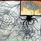 Gothic Plastic SPIDER WEB COBWEB DOOR TABLE COVER CLOTH White Black Print Horror Kitchen Dining Halloween Decoration Cemetery Graveyard Haunted House Mansion Costume Party Prop Building Spiderweb Wall Mural Background Backdrop Scene Setter-NINE FEET
