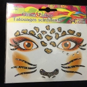 Wild Animal CHEETAH LEOPARD-Stick on Eye Wear Glitter Sequin Tattoo Decal with Classic Detail. Eye Shadow Face Art Sticker. Temporary Tattoos Transfer with Faux Rhinestone Gems Makeup Special Effects Cosmetic Accessory, as pictured. Easy removal.