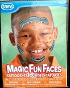 Magic Fun Faces Glitter Tattoos-SHARKNADO KILLER SHARK-Colorful Stick Tattoo Decals. Eye Shadow Face Art Wear Sticker. Fake Temporary Transfers Special Effects Instant Cosmetic Accessory. Add your own makeup. Easy application, removal. Lasts days.