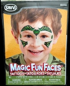 Magic Fun Faces Glitter Tattoos-KING COBRA SNAKE-Colorful Stick Tattoo Decals. Eye Shadow Face Art Wear Sticker. Fake Temporary Transfers Special Effects Instant Cosmetic Accessory, pictured. Add your own makeup. Easy application,removal. Lasts days.