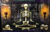 Gothic Torture Chamber Funny Meditation Dead Guru DUNGEON YOGA SKELETON MURAL WALL POSTER Creepy Horror Garage Door Cover Window Hanging Spooky Halloween Haunted House Medieval Castle Crypt Costume Party Decoration Scene Setter Photo Prop Backdrop