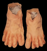 Funny Hobbit Style Monster Foot JUMBO FEET LATEX SHOE COVERS Halloween Horror Prop Cosplay Costume Accessory-Frodo Bilbo Baggins inspired-Giant Fairytale Ogre Caveman Flintstones Barefoot Clown Body Part-Adult Size-Stretch Latex Rubber Flesh Pair