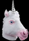 Funny WHITE Unicorn Horse Head Mask Halloween Novelty Mythical Fantasy Animal Medieval Castle Fairy Cosplay Theater. Full over-head LATEX Rubber Costume Accessory. Pink shading, blue eyes. Mythological creature makes a funky wall mounted party prop!