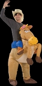 Hilarious Airblown Inflatable Unisex Costume Funny Western Rodeo Mascot Horseback Rider COWBOY RIDING HORSE. Includes HAT and self-inflating fan with battery pack to fully inflate for hours. Uses 4-AA Batteries. Fits most adults 5 to 6-ft tall.