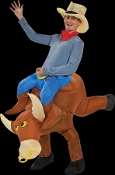 Hilarious Airblown Inflatable Costume Funny Western Rodeo Mascot Horseback Rider COWBOY RIDING BULL. Includes HAT and self-inflating fan. Battery pack fully inflates the unisex costume for hours. Uses 4-AA Batteries. Fits most Adults 5 to 6-ft tall.