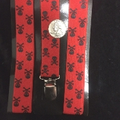 Funky 1-inch wide stretch elastic Y-SHAPE back ADJUSTABLE UNISEX NOVELTY PRINT SUSPENDERS with metal clips. Adult One Size costume daily wear accessory. Formal, casual, stage, holiday, Halloween party, cosplay-Red Black POISON SKULL CROSSBONES