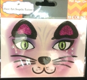 Wild Animal KITTY CAT-BLACK-Stick on Eye Wear Glitter Sequin Tattoo Decal with Classic Detail. Eye Shadow Face Art Sticker. Temporary Tattoos Transfer with Faux Rhinestone Gems Makeup Special Effects Cosmetic Accessory, as pictured. Easy removal.