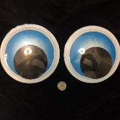 6-inch (15cm) 2-Pc Big Pair Funny Wiggle ROUND SPOOKY BLUE GIANT GOOGLY EYES Jumbo Size Novelty Snowman Props Crafts Party Gag Decorations-Self Stick Adhesive-Halloween Holiday Christmas Tree, Car, Garage Door, Refrigerator, Mailbox, Water Cooler