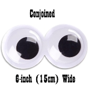 6-inch (15cm) Big Size Funny Wiggle Ghost ROUND GIANT CONJOINED GOOGLY EYES Novelty Classic WHITE with BLACK Pupils-Halloween Props Crafts Party Gag Decorations-Sticky Back. Decorate Tree Car Door Appliances. Create Monsters Clowns Creatures-DARICE