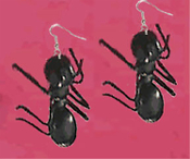 GIANT ANT EARRINGS-Punk Camping Picnic Buggy Funky Novelty Charm Funky Costume Jewelry. HUGE Insect camping picnic bug Weird Halloween Novelty Costume Jewelry - Big Gothic Black Plastic TOY Charms. GINORMOUS exterminator entymology gag gift!